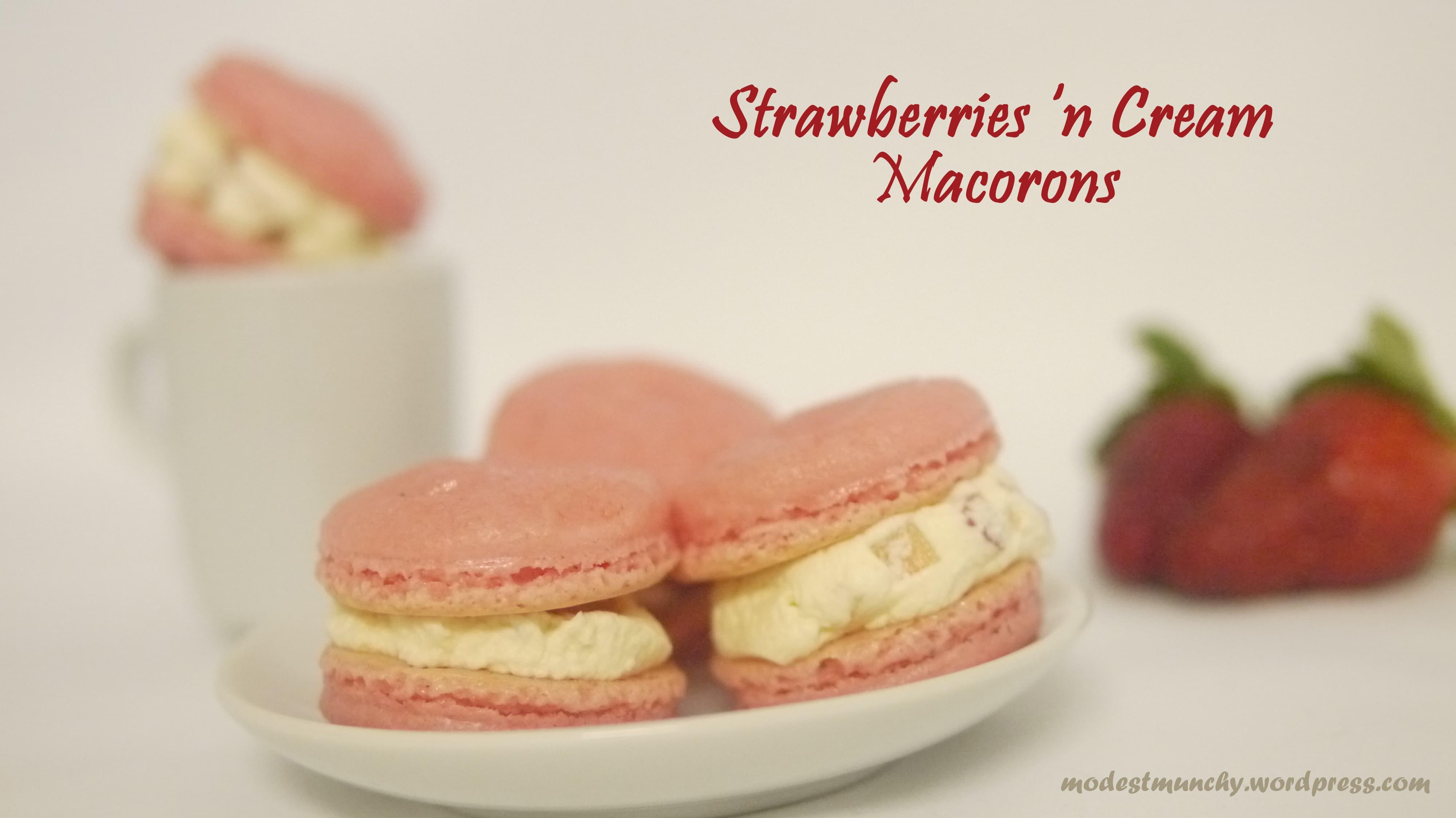 Strawberries 'n Cream Macarons